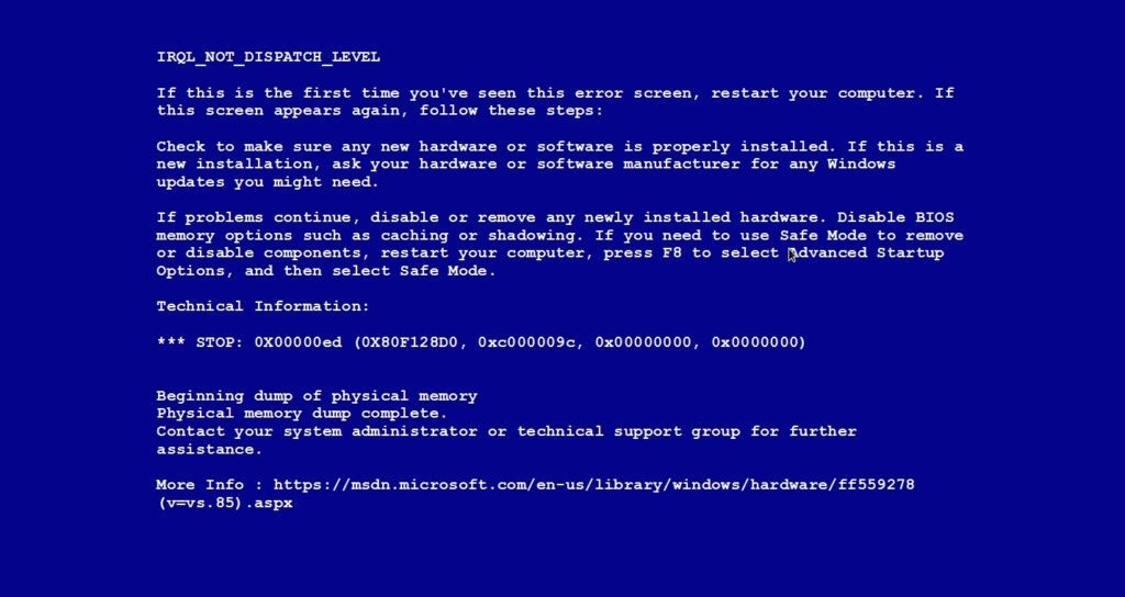 Depannage Informatique Bruxelles BSOD Ecran Bleu